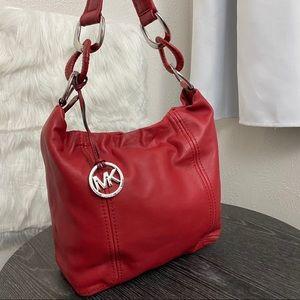 Michael Kors Red Leather Shoulder Bag